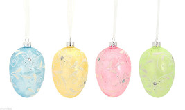 Blown Glass Spring Easter Eggs Set of 4 in Pastel colors with Floral Design