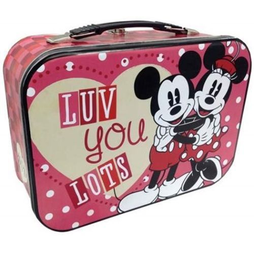 Walt Disney's Mickey and Minnie Luv You Lots Carry All Tin Tote Lunchbox, UNUSED