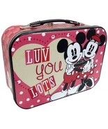 Walt Disney's Mickey and Minnie Luv You Lots Carry All Tin Tote Lunchbox... - $20.31
