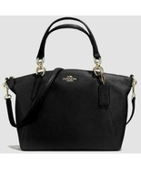 New Coach 28993 small Kelsey Pebble Leather Satchel handbag Black with G... - $129.00