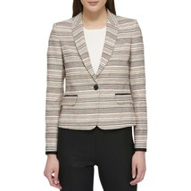Tommy Hilfiger Womens Beige Contrast Trim One-Button Blazer Jacket 8, 10... - $41.65