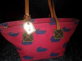 Dooney & Bourke Red with Blue Fabric Duck Pattern Satchel Handbag - $79.99