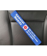 Special Needs Medical Alert Seat Belt Cover Royal Blue - $25.94