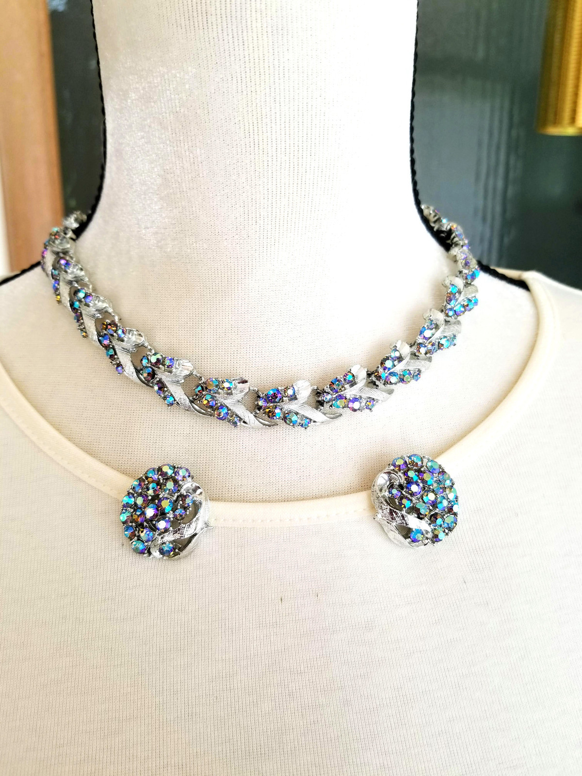 Vintage Blue AB Rhinestone Necklace and Earring Set, Brushed Silver Tone Metal