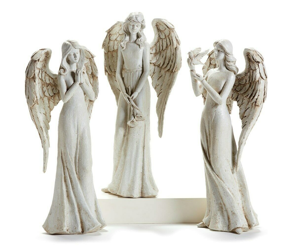 "One 14"" Angel Figurine w Long Dress - 3 Choices - Bird, Flowers or Praying"