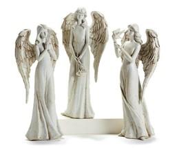 "One 14"" Angel Figurine w Long Dress - 3 Choices - Bird, Flowers or Praying"