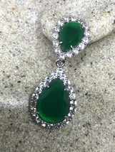 Vintage Genuine Green Crystal 925 Sterling Silver Chandelier Earrings - $146.50