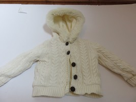 Gymboree Girls Cream cable knit Hooded cardigan sweater Ivory 2T EUC faux fur - $13.95