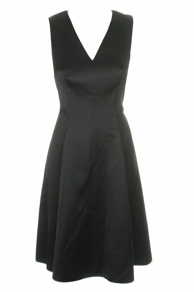New $159 Anne Klein Satin Fit Flare V-Neck Dress Black Cocktail Evening Size 6