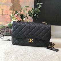 AUTHENTIC CHANEL BLACK CAVIAR QUILTED JUMBO DOUBLE FLAP BAG GHW
