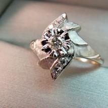 14K 5 Diamond White Gold Ring Circa 60s Size 7 Flower Motif 3.38 Grams V... - $346.49