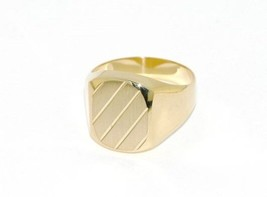 18K YELLOW GOLD BAND MAN RING SQUARE OVAL ENGRAVABLE SATIN SMOOTH MADE IN ITALY image 1