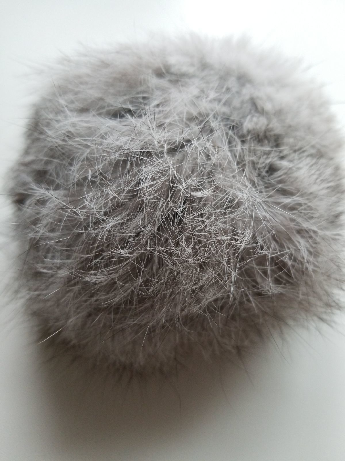 Faux fur ball hanging keychain grey