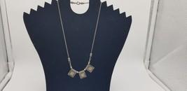 Vintage .925 Silver Marked Rope Chain W/ 3 Square Tribal Pendants BOHO U... - $25.14