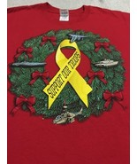 Support Our Troops Christmas Wreath Yellow Ribbon Red T-shirt Sz 2XL NEW - $16.99