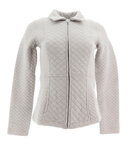 Isaac Mizrahi Live! Diamond Quilted Zip Front Knit Jacket, Grey, 1X - $37.60