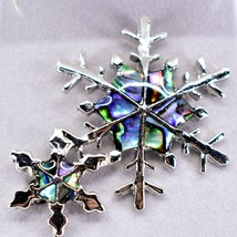 A.T. Storrs Wild Pearle Abalone Shell Winter Snowflakes Silver Tone Pin Brooch image 2