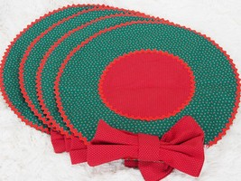 4X Christmas Table Placemats + Fabric Napkin Set Linens - Handmade Wreat... - $48.51