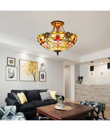 """Tiffany-Style 2-Light Ceiling Lamp with 16"""" Shade - $141.90"""