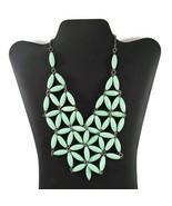 """Vintage Mid Century Green Flower Bib Necklace 20"""" - $24.50"""