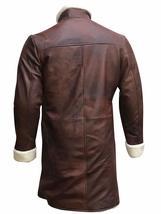 Mens King Arthur Legends Sword Charlie Hunnam Fur Shearling Brown Leather Coat image 4