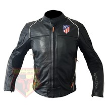 ATLETICO MADRID FOOTBALL CLUB COWHIDE LEATHER MOTORBIKE MOTORCYCLE ARMOU... - $209.99