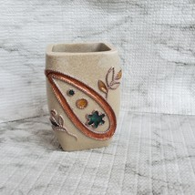 "Bathroom Tumbler or Vase by Lisa Audit artist, Resin 4"" pot, raised inlay design image 7"