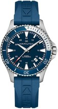 Hamilton H82345341 40mm Blue Rubber Band Khaki Navy Scuba Automatic Mens... - $504.70