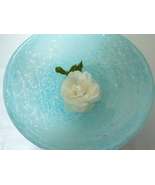 Clear with a Bubbly Pattern Turquoise Aqua Decorative Display Art Glass ... - $18.00