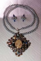 Up-cycled vintage a/b rhinestones cameo filigree pendant smoky quartz ba... - $29.00