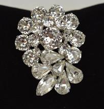 Weiss Ice Clear Rhinestone Tiered Flower Brooch Pin - $49.49