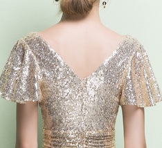 GOLD Maxi Sequin Dress Cap Sleeve High Waist Retro Style Maxi Long Sequin Dress image 10