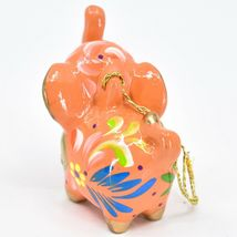 Handcrafted Painted Ceramic Peach Pink Elephant Confetti Ornament Made in Peru image 3