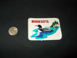 VTG-State Bird of Minnesota Loon Lake Scene embroidered hat jacket patch - $9.49