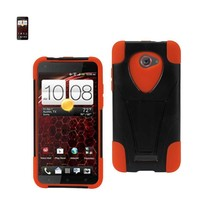 REIKO HTC DROID DNA HYBRID HEAVY DUTY CASE WITH KICKSTAND IN BLACK ORANGE - $8.36