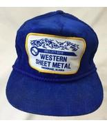 Alaska Western Sheet Metal Blue Hat Baseball Cap Corduroy Adjustable Otto - $23.36