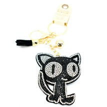 Pave Crystal Accent 3D Stuffed Pillow Black Kitty Cat Keychain Key Chain