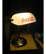Vintage Coca Cola Metal Banker's Coin Bill Counting Desk Lamp White Glas... - $76.92