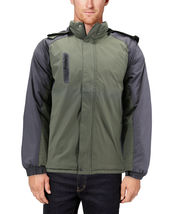 Men's Quilted Lined Removable Hood Two Toned Zipper Puffer Lightweight Jacket image 9