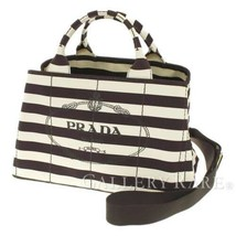 f507256cf18b PRADA Canapa Cotton Brown Ivory Tabacco Tote Bag 2Way B2642B Authentic 5...  -