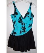 BRAND NEW Miraclesuit AURORA~12~Black/Turquoise~Swimdress~One Piece Swim... - $118.79