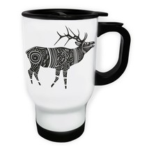 Beautiful Ethnic Black Raindeer White/Steel Travel 14oz Mug x957t - $17.79
