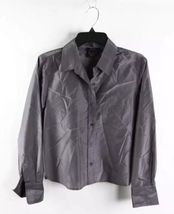 BCBG Pewter Grey Long Sleeve Button Up Vintage Casual Blouse Sz. M - $45.00