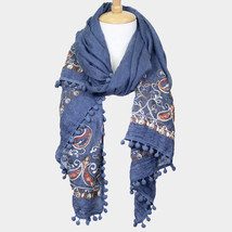 Teal Blue Paisley Embroidery Pom Pom Oblong Scarf 353033 - €18,46 EUR
