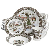 Gibson Home Christmas Toile 16 Piece Dinnerware Set - $60.12