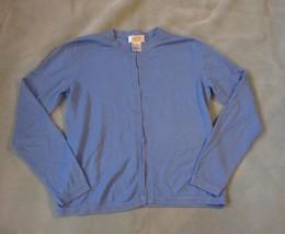 Talbots Women Cardigan Petite Size Small Light Blue Long Sleeve Crew Neck Career - $5.24