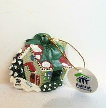 Hand Painted Habitat for Humanity Ornament Cottage Christmas - $14.00
