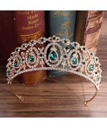 Baroque Gold Green Crystal Bridal Tiaras Rhinestone Diadem Pageant Crown... - $23.49