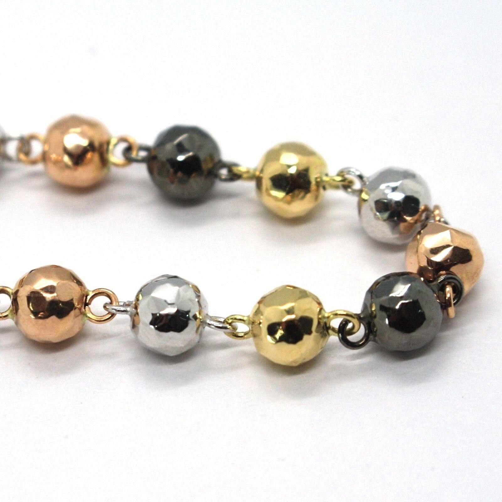 Gold Bracelet Yellow White Pink Black 18K 750, Spheres Alternate and Enhanced