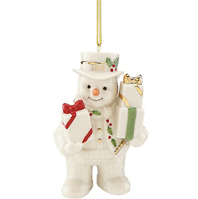 Lenox 2018 Snowman Figurine Ornament Annual Gifts Galore Happy Holly Days NEW